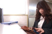 Hot Japanese milf goes dirty at work and sucks cock Photo 5