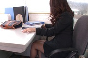 Hot Japanese milf goes dirty at work and sucks cock Photo 9