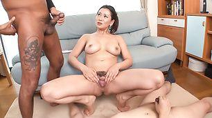 Busty Asian milf amazes with her warm lips