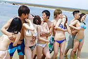 Hot outdoor group porn with smashing teens on fire  Photo 3