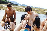Hot outdoor group porn with smashing teens on fire  Photo 4