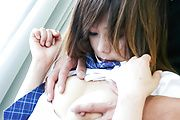 Miku Airi rides him in her hairy japanese pussy Photo 4