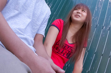 Noriko Kago-Pretty teenage chick sucking and stroking one hard cock and get screwed Picture 2