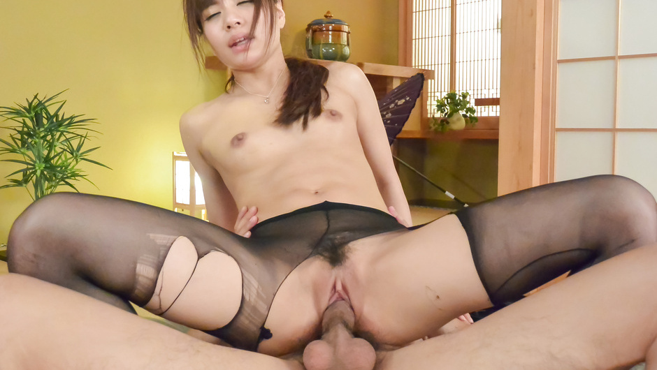 Milf in Japanese stockings works magic with boss's cock