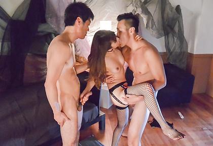 Dazzling Asian gangbang porn along superbMiku Ohashi