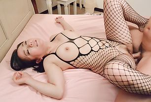 Top wife in sexy Japanese stockings, endures great sex