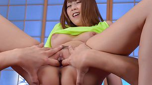 Big tits Asian angel,Hitomi Kitagawa, playing nasty in POV