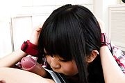 Riisa Minami working hard for his cum with a blowjob Photo 6