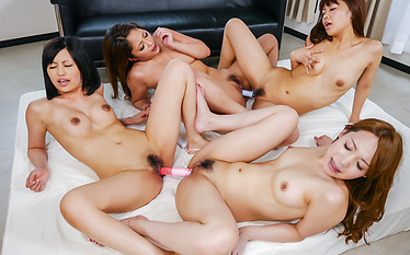 Japanesegirls enjoying harsh Asian masturbating session