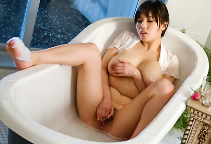 Azusa Nagasawa Plays With Her Sopping Wet Tits