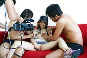 Karen Natsuhara gets a hairy pussy creampie after group sex Photo 11