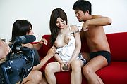 Karen Natsuhara gets a hairy pussy creampie after group sex Photo 12