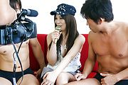 Karen Natsuhara gets a hairy pussy creampie after group sex Photo 8