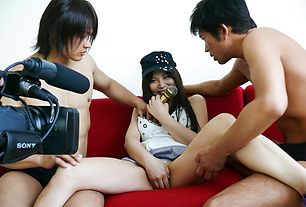 Karen Natsuhara gets a hairy pussy creampie after group sex