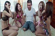 Akubi, Asami, Megu andYuma hairy Asian pussy fuck Photo 5