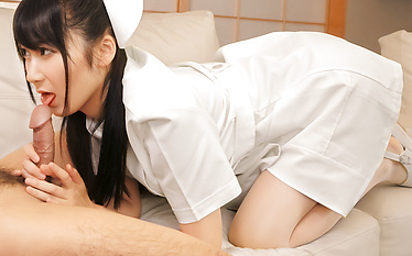Naughty Asian blowjob by hot nurse Chie Aoi