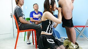 Maid teen Miku Airi on her knees for a japanese blowjob