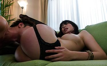 Saki Aoyama in stockings rides joystick