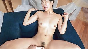 Sexy POv action along a peachy tits Asian wife
