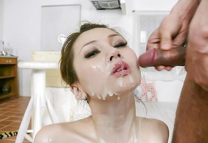 Oiled up Ameri Ichinose gives japanese blowjobs for facials