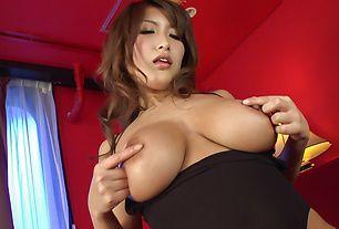 Big tits Asian woman throats and sucks cock like crazy