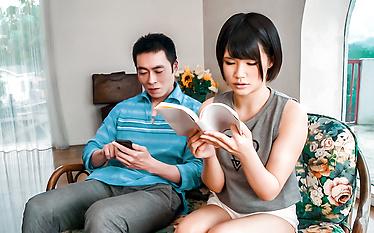 Asian girl blowjob in smashing threesome scenes