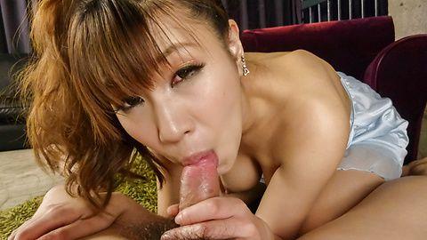 Asian milf blows cock like a true goddess