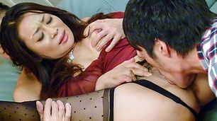 Busty Japanese milf banged in dirty threesome