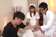 Hina Misaki in white stockings banged in group sex Photo 11