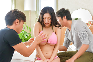 Asian milf with big boobs goes nasty on two pricks