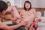 Japan milf removes undies to fuck with two guys Photo 6