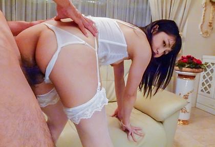 Hot Asian lingerie model nasty hardcore threesome
