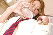 Asian milf plays with her shaved pussy in rough ways Photo 4