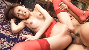 Sexy in red Ibuki gets her japanese pussy creampied