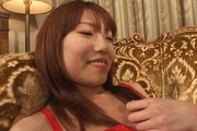 Sexy in red Ibuki gets her japanese pussy creampied Photo 7