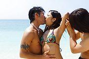 Wild Threesome With Yui Nanase At The Beach Photo 1