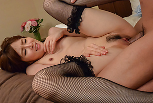 Hottie gets creamed on her hairy Japanese pussy