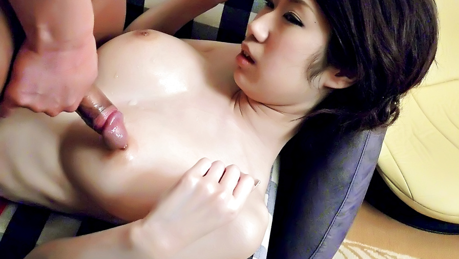 Japanese lingerie model receives cock between her tits