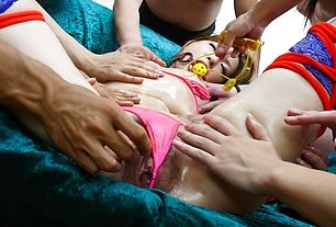 Babe's hairy Asian pussy gets smashed with toys