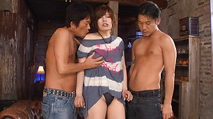 Ririsu Ayaka creampied by two in asian milf porn