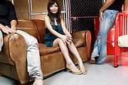 Riona Suzune pleases two guys with her shaved asian pussy Photo 2
