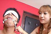 Naughty japanese milf Yuki Mizuho sucks cock and licks ass Photo 3