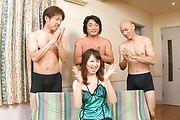 Three Horny Guys Cum In Naho Kojima's Mouth Photo 1