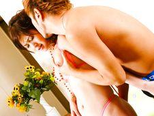 Moe Yoshikawa-Pink bikini earns a fingering session for sexy Moe Yoshikawa Picture 1