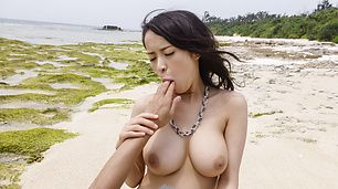 Asian milf, Kyouko Maki, deals cock at the beach