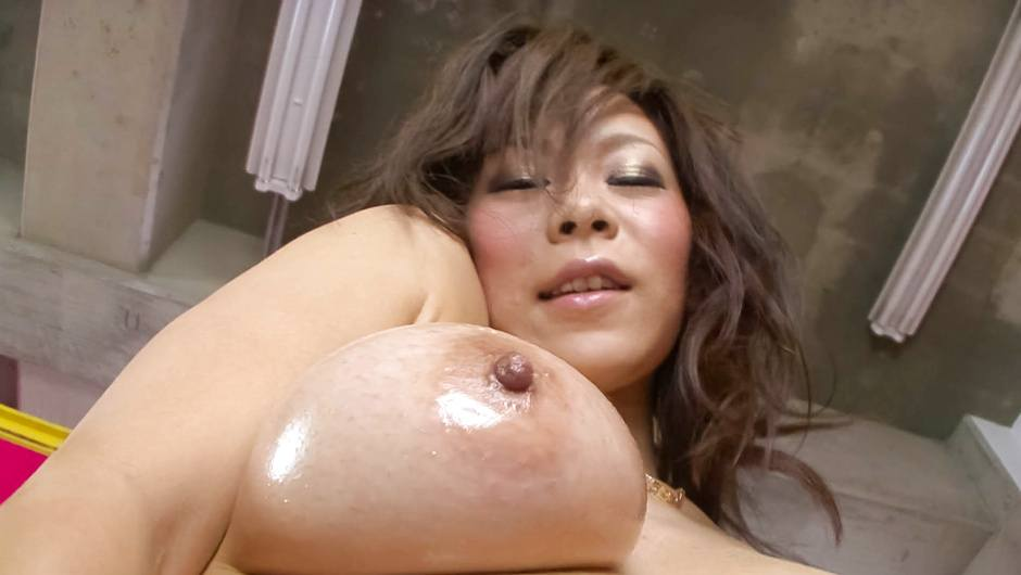Ren Mizumori's big asian tits oiled up while being fucked