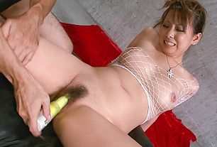 MILF Asuka gets toy fucked in fishnet lingerie