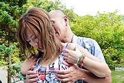 MILF Aika gives a blowjob and has japanese outdoor sex Photo 4
