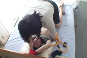 Tied up guy gets two MILF's to work his dick Rika Shibuki Photo 12
