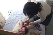 Tied up guy gets two MILF's to work his dick Rika Shibuki Photo 1